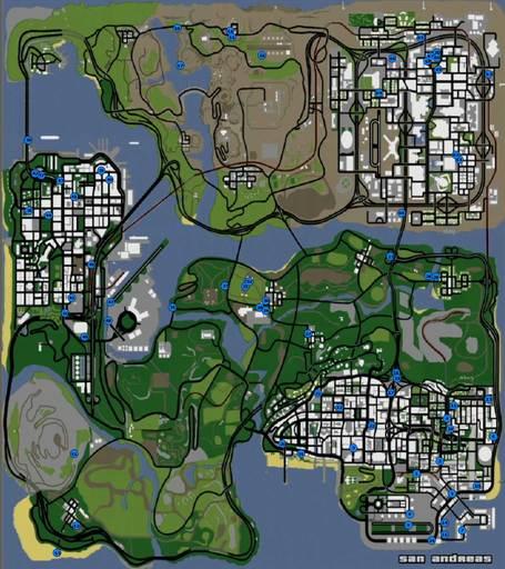 Grand Theft Auto: San Andreas - Карта уникальных прыжков