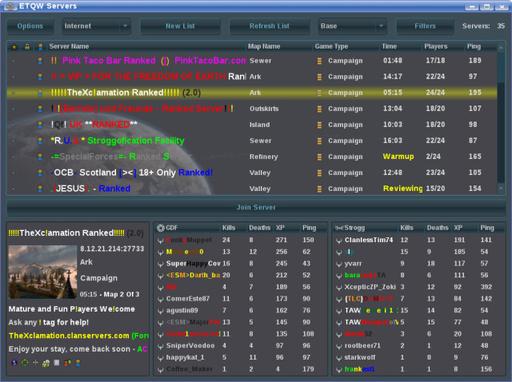Enemy Territory: Quake Wars - QWStat - покажет информацию о серверах ETQW