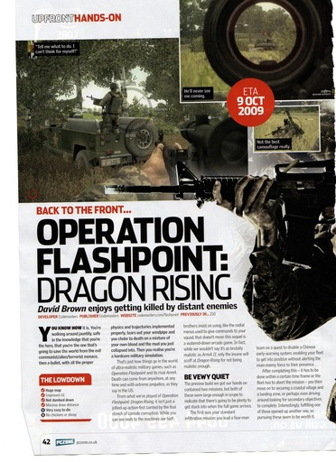 Operation Flashpoint: Dragon Rising - Предыстория и сканы из журнала(англ)
