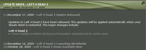 Left 4 Dead 2 Update Released
