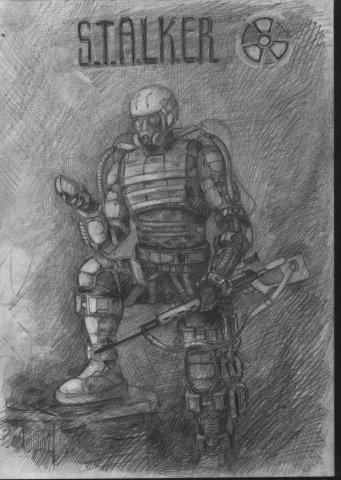 Рисуем сталкера одиночку поэтапно с картинками