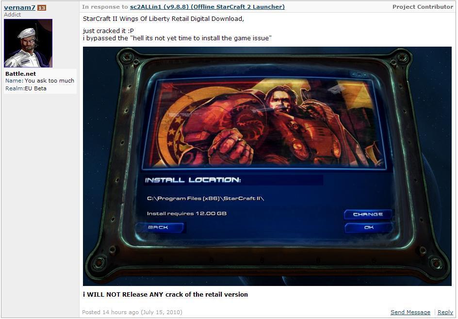 StarCraft II: Wings of Liberty - Инсталлятор Starcraft был взломан.