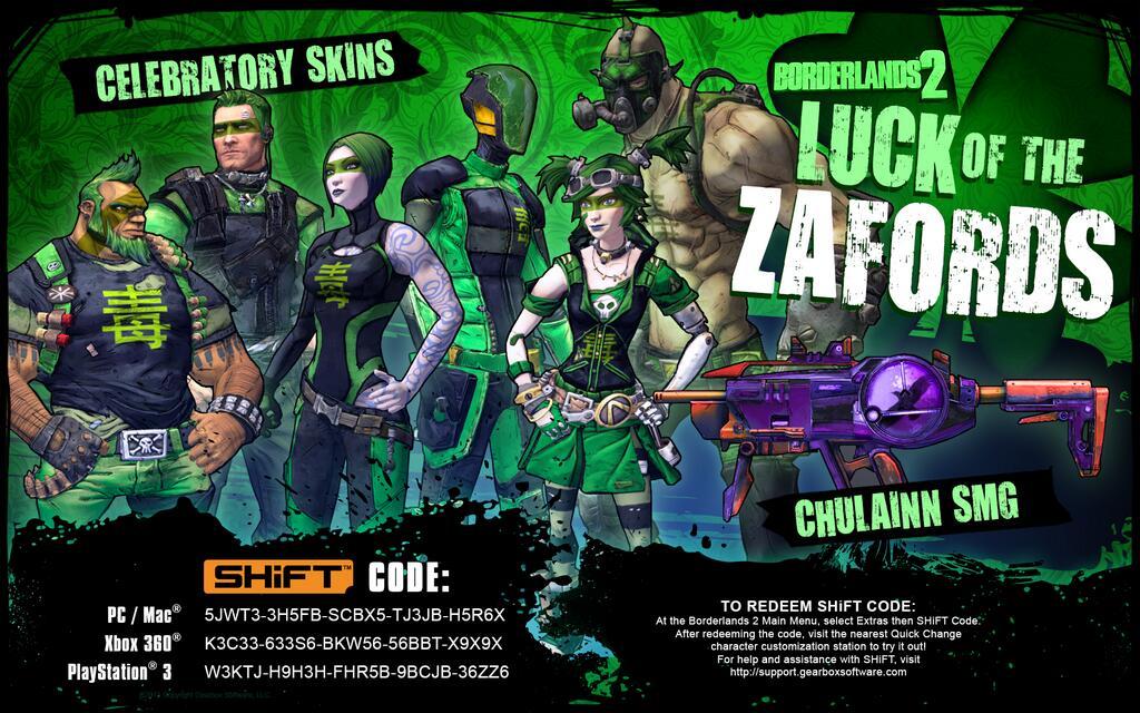 Shift code Luck Of The Zafords — Borderlands 2 — Игры ... Borderlands Pre Sequel Shift Codes